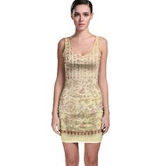 Beige Egyptian Ancient Art Bodycon Dress
