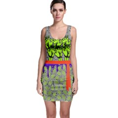 Green Faux Ribbon Halloween Outfit Bodycon Dress