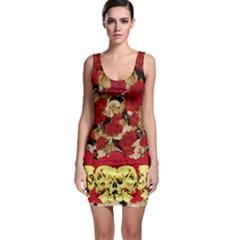 Red & Light Yellow Florals & Skulls Bodycon Dress