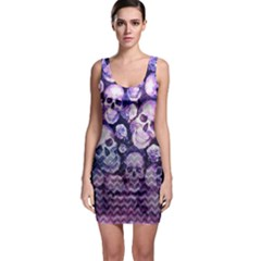 Purple Zigzag & Skulls Outfit Bodycon Dress