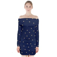Navy/gold Stars Long Sleeve Off Shoulder Dress