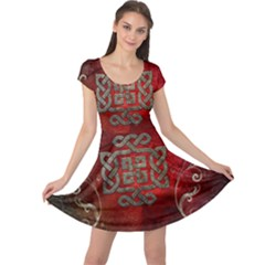 The Celtic Knot With Floral Elements Cap Sleeve Dress