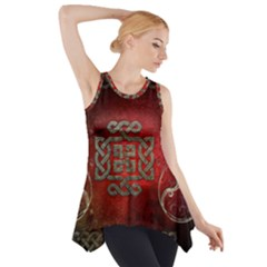 The Celtic Knot With Floral Elements Side Drop Tank Tunic