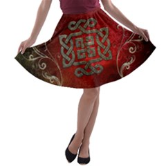 The Celtic Knot With Floral Elements A Line Skater Skirt