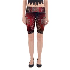 The Celtic Knot With Floral Elements Yoga Cropped Leggings