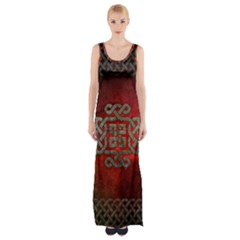 The Celtic Knot With Floral Elements Maxi Thigh Split Dress