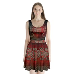 The Celtic Knot With Floral Elements Split Back Mini Dress