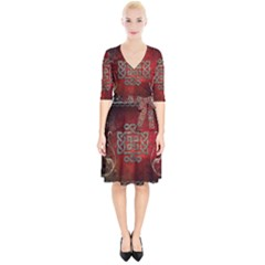 The Celtic Knot With Floral Elements Wrap Up Cocktail Dress