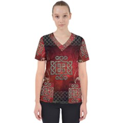 The Celtic Knot With Floral Elements Scrub Top