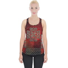 The Celtic Knot With Floral Elements Piece Up Tank Top