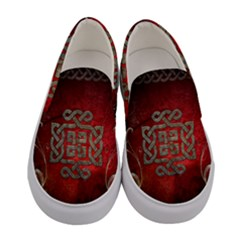 The Celtic Knot With Floral Elements Women s Canvas Slip Ons