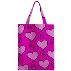 Curly Heart Bg  Pink Zipper Classic Tote Bag