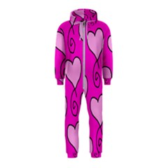 Curly Heart Bg  Pink Hooded Jumpsuit (kids)