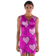 Curly Heart Bg  Pink Wrap Front Bodycon Dress