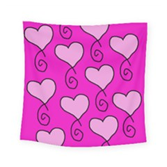 Curly Heart Bg  Pink Square Tapestry (small)