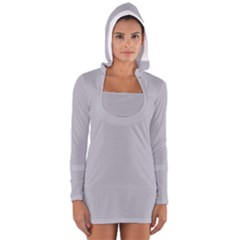 Grey Harbour Mist   Spring 2018 London Fashion Trends Long Sleeve Hooded T Shirt
