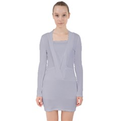 Grey Harbour Mist   Spring 2018 London Fashion Trends V Neck Bodycon Long Sleeve Dress