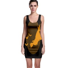Day Hallowiin Ghost Bat Cobwebs Full Moon Spider Bodycon Dress