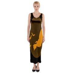 Day Hallowiin Ghost Bat Cobwebs Full Moon Spider Fitted Maxi Dress