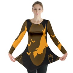 Day Hallowiin Ghost Bat Cobwebs Full Moon Spider Long Sleeve Tunic