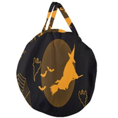 Day Hallowiin Ghost Bat Cobwebs Full Moon Spider Giant Round Zipper Tote
