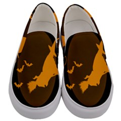 Day Hallowiin Ghost Bat Cobwebs Full Moon Spider Men s Canvas Slip Ons