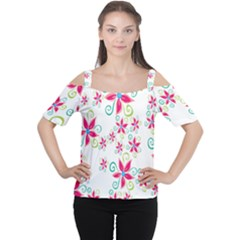 Flower Beauty Sexy Rainbow Sunflower Pink Green Blue Cutout Shoulder Tee
