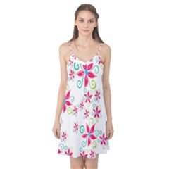 Flower Beauty Sexy Rainbow Sunflower Pink Green Blue Camis Nightgown