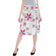 Flower Beauty Sexy Rainbow Sunflower Pink Green Blue Midi Beach Skirt