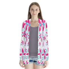 Flower Beauty Sexy Rainbow Sunflower Pink Green Blue Drape Collar Cardigan