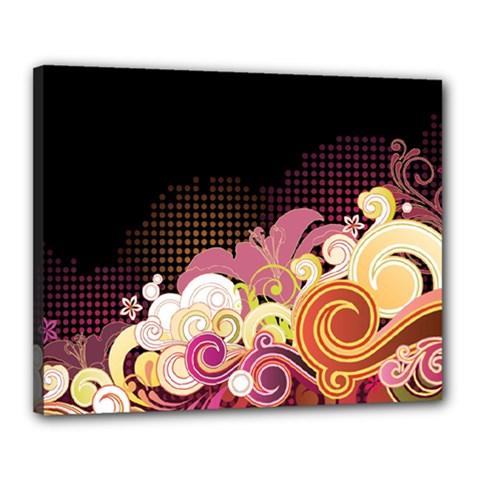 Flower Back Leaf Polka Dots Black Pink Canvas 20  X 16