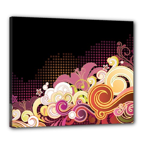 Flower Back Leaf Polka Dots Black Pink Canvas 24  X 20
