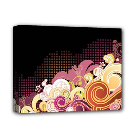 Flower Back Leaf Polka Dots Black Pink Deluxe Canvas 14  X 11