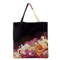 Flower Back Leaf Polka Dots Black Pink Grocery Tote Bag