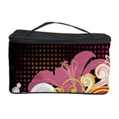 Flower Back Leaf Polka Dots Black Pink Cosmetic Storage Case