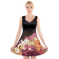 Flower Back Leaf Polka Dots Black Pink V Neck Sleeveless Skater Dress