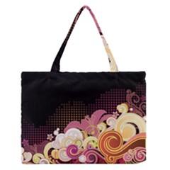 Flower Back Leaf Polka Dots Black Pink Zipper Medium Tote Bag
