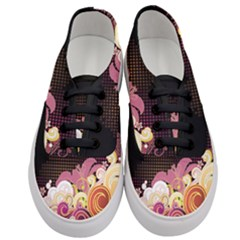 Flower Back Leaf Polka Dots Black Pink Women s Classic Low Top Sneakers