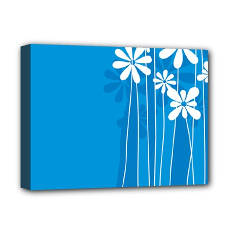Flower Blue Deluxe Canvas 16  X 12