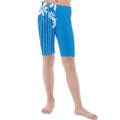 Flower Blue Kids  Mid Length Swim Shorts