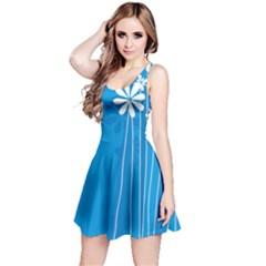 Flower Blue Reversible Sleeveless Dress