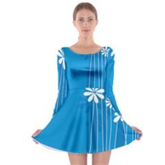 Flower Blue Long Sleeve Skater Dress