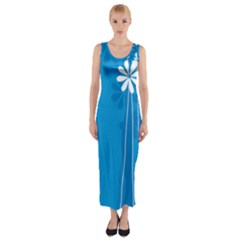 Flower Blue Fitted Maxi Dress