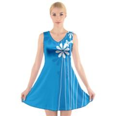Flower Blue V Neck Sleeveless Skater Dress