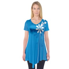 Flower Blue Short Sleeve Tunic