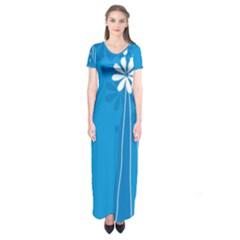 Flower Blue Short Sleeve Maxi Dress