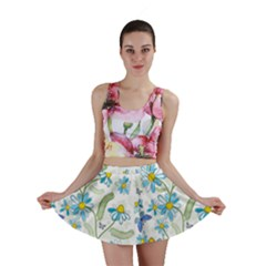 Flower Blue Butterfly Leaf Green Mini Skirt