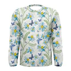 Flower Blue Butterfly Leaf Green Men s Long Sleeve Tee