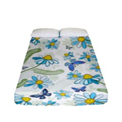 Flower Blue Butterfly Leaf Green Fitted Sheet (full/ Double Size)