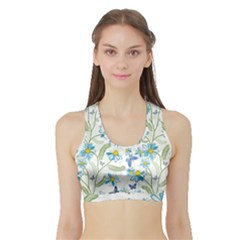 Flower Blue Butterfly Leaf Green Sports Bra With Border